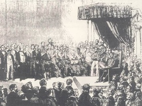 Engraving of the first opening of the Cape Parliament in 1854. The new constitution barred discrimination on the basis of race or colour and, in principle at least, the Parliament and other government institutions at the time were explicitly colour-blind.