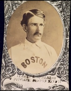 Albert Spalding on a 1871 Boston Red Stockings baseball card.