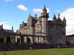 Abbotsford House, re-built for Walter Scott, helped to launch the Scots Baronial revival.