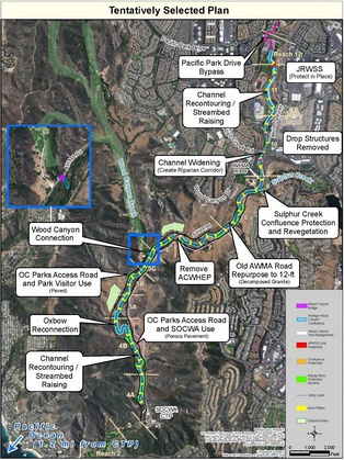 Map of the Aliso Creek Mainstem Ecosystem Restoration Project