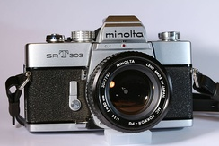 Minolta SR-T 303 camera with MC Rokkor-PG 50 mm 1:1.4 lens.