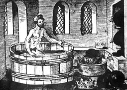 Greek philosopher Archimedes having his famous bath, the birth of the theory of displacement
