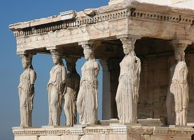 The Caryatid porch of the Erechtheion in Athens, Greece