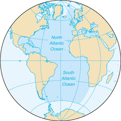 Extent of the Atlantic Ocean according to the 2002 IHO definition, excluding Arctic and Antarctic regions