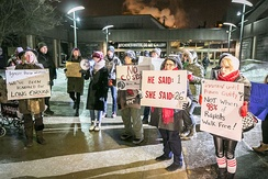 Demonstrators protesting against Bill Cosby in Kitchener, Ontario, Canada