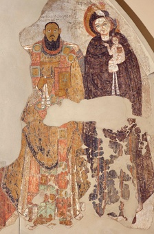 Nubian bishop and Virgin Mary on a wall painting from Faras (11th century)
