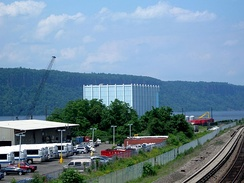 The Blue Cube, a landmark former factory on the Northwest Yonkers waterfront.