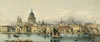 Boats on the River Thames and St Paul's Cathedral, 1850s