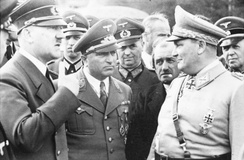 (from left) Hitler; Robert Ley, head of the German Labour Front; Ferdinand Porsche, armaments manufacturer; and Hermann Göring, head of the Four Year Plan (1942)
