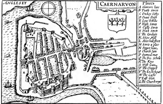 Map of Caernarfon in 1610 by John Speed. The castle was at the south end of the settlement.
