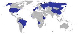 Map of countries with Cape Verdean embassies