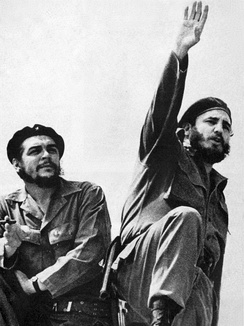 Che Guevara (left) and Castro, photographed by Alberto Korda in 1961