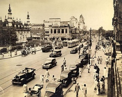 Chowringhee avenue and Tipu Sultan Mosque in central Calcutta, 1945