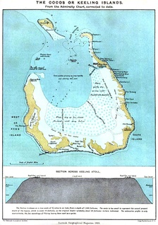 1889 map of South Keeling Islands.