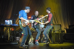 Coldplay performing at New York's Hammerstein Ballroom in October 2008