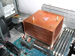 Heat sink in a workstation computer