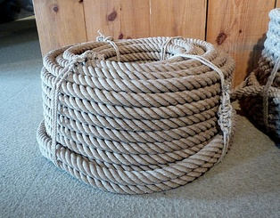 A coil right-handed laid three-strand rope