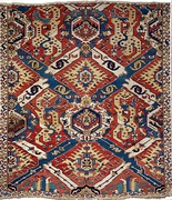 "South Caucasian ""Dragon carpet"" with swastikas, 17th century. Shirvan or Karabagh, modern Azerbaijan."