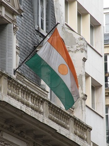 Niger's flag waving at the embassy in Paris.