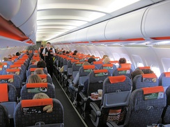 The cabin of an EasyJet A319, pictured in 2010