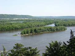 View of the Mississippi River and western Wisconsin from Effigy Mounds National Monument in 2007