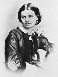 Black-and-white photograph of a woman with dark hair