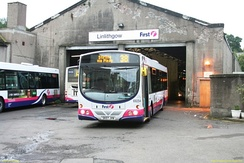 Wright Eclipse bodied Volvo B7RLE at the former Linlithgow depot in September 2008