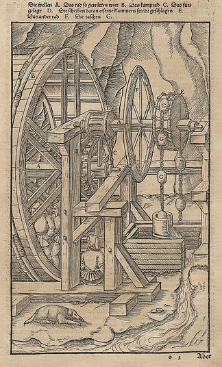 An Agricola illustration from 1580 showing a toothed wheel that engages a slotted cylinder to form a gear train that transmits power from a human-powered treadmill to mining pump.