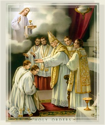 Ordination to the Catholic priesthood (Latin rite). Devotional card, 1925.