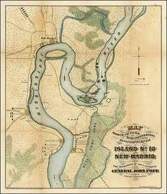 Battle map of Island No.10Rebel Fortifications on the Mississippi River on island; New Madrid; Operations of U.S. Forces Under General Pope against Rebel positions
