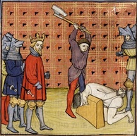 Execution of some of the ringleaders of the jacquerie, from a 14th-century manuscript of the Chroniques de France ou de St Denis