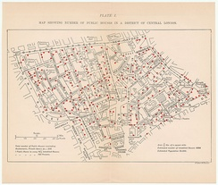 1899 map showing number of public houses in a district of central London