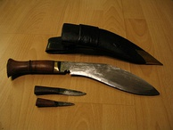 The multipurpose Kukri knife (top) is the signature weapon of the Nepali armed forces, and is used by the Gurkhas, Nepal Army, Police and even security guards.
