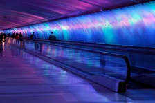 Colorful pedestrian Light Tunnel at Detroit's DTW airport, United States.