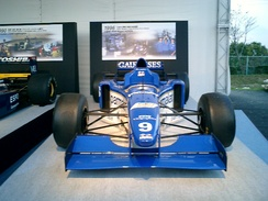 Ligier's last F1 car, the JS43, on display. Driven by Olivier Panis and Pedro Diniz, it provided Panis's only F1 victory and Ligier's last, at the 1996 Monaco Grand Prix.