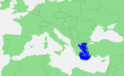 The extent of the Aegean Sea on a map of the Mediterranean Sea