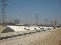 The Los Angeles River's wider channel near the mouth