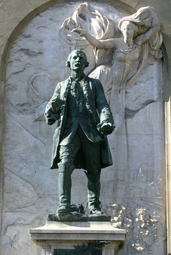 Statue of Major Davel in front of the Château Saint-Maire in Lausanne