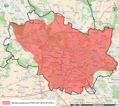 Map of Wrocław's areas where PM10 standards were exceeded in 2015