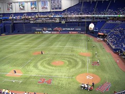 Metrodome field, in its baseball configuration. The football markings are slightly visible under the turf.