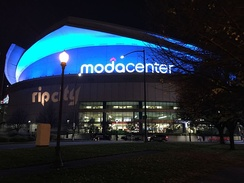 The Moda Center at night