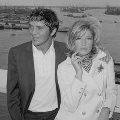 Stamp with actress Monica Vitti in 1965 during filming Modesty Blaise