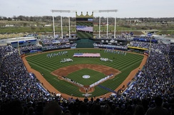 Kauffman Stadium underwent renovations in 2009, including the addition of a high-definition scoreboard.