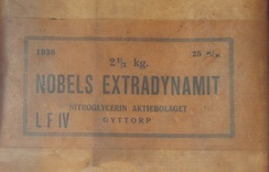 """Nobels ExtraDynamit"" manufactured by Nobel's old company, Nitroglycerin Aktiebolaget"