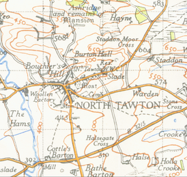 Map of North Tawton from 1946