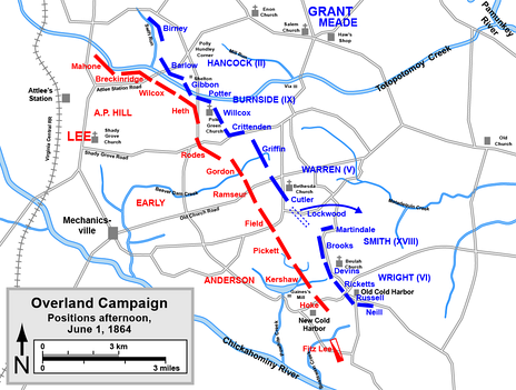 Positions of the armies on the afternoon of June 1, 1864