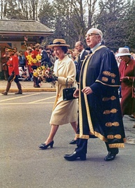 The Queen walks with John Clyne, the Chancellor of the University of British Columbia during her 1983 royal tour of Canada.