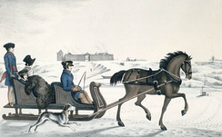 Governor of Red River, Andrew Bulger, driving his family on the frozen Red River in a horse cariole with Fort Garry in the background (1822–23)