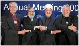 (left to right) George Carey, Archbishop of Canterbury (1991–2002); Jonathan Sacks, Chief Rabbi (UK); Mustafa Cerić, Grand Mufti of Bosnia; and Jim Wallis, Sojourners, United States. 2009 World Economic Forum in Davos, Switzerland.