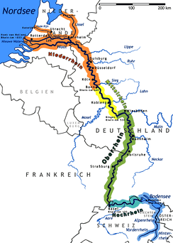 The Rhine River: shows the passage of a water way, flowing east, then turning north, toward the North Sea. The river is labeled at different locations.